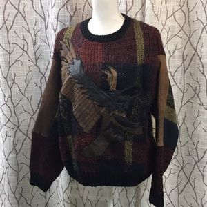 Leather eagle dad sweater